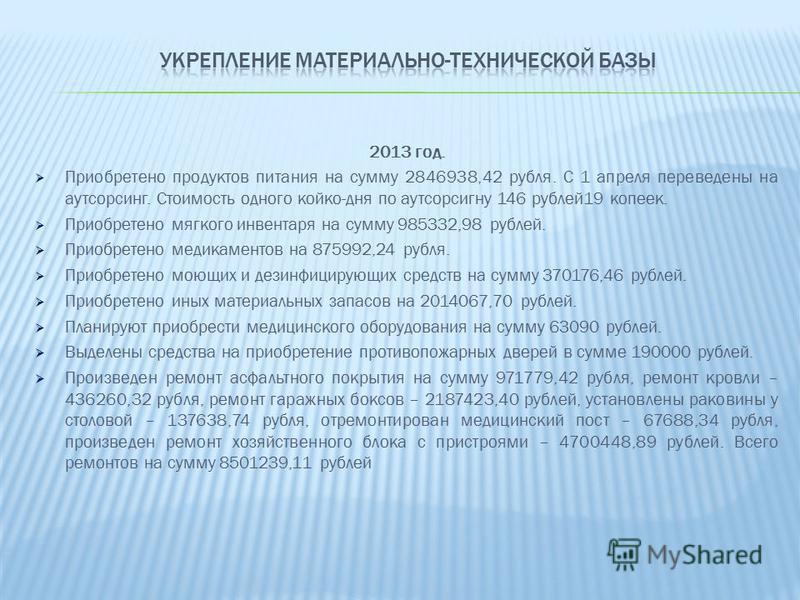 2013 год. Приобретено продуктов питания на сумму 2846938,42 рубля. С 1 апреля переведены на аутсорсинг. Стоимость одного койко-дня по аутсорсингу 146 рублей 19 копеек. Приобретено мягкого инвентаря на сумму 985332,98 рублей. Приобретено медикаментов