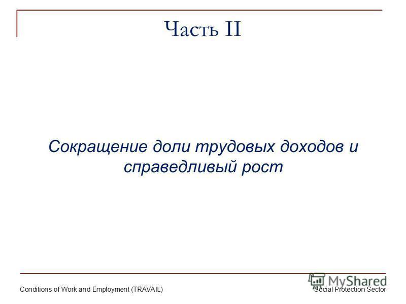 Conditions of Work and Employment (TRAVAIL) Social Protection Sector Часть II Сокращение доли трудовых доходов и справедливый рост