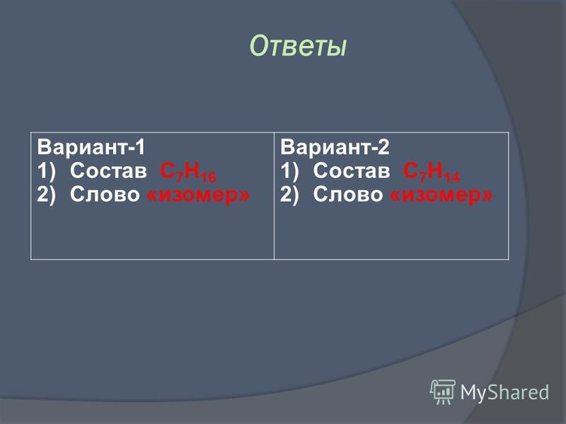 Вариант-1 1)Состав C 7 H 16 2)Слово «изомер» Вариант-2 1)Состав C 7 H 14 2)Слово «изомер» Ответы