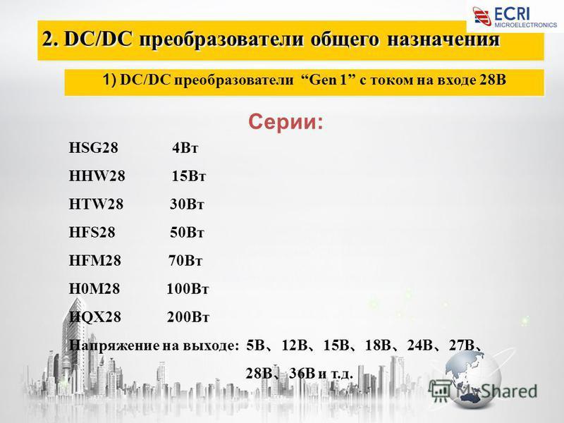 2. DC/DC преобразователи общего назначения 1) DC/DC преобразователи Gen 1 с током на входе 28В Серии: HSG28 4Вт HHW28 15Вт HTW28 30Вт HFS28 50Вт HFM28 70Вт H0M28 100Вт HQX28 200Вт Напряжение на выходе: 5В 12В 15В 18В 24В 27В 28В 36В и т.д.