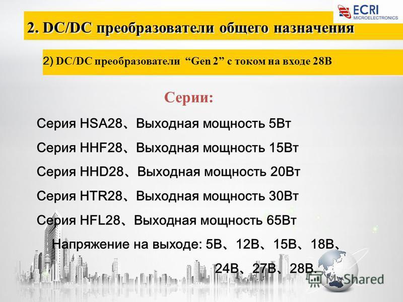 2. DC/DC преобразователи общего назначения 2) DC/DC преобразователи Gen 2 с током на входе 28В Серии: Серия HSA28 Выходная мощность 5Вт Серия HHF28 Выходная мощность 15Вт Серия HHD28 Выходная мощность 20Вт Серия HTR28 Выходная мощность 30Вт Серия HFL