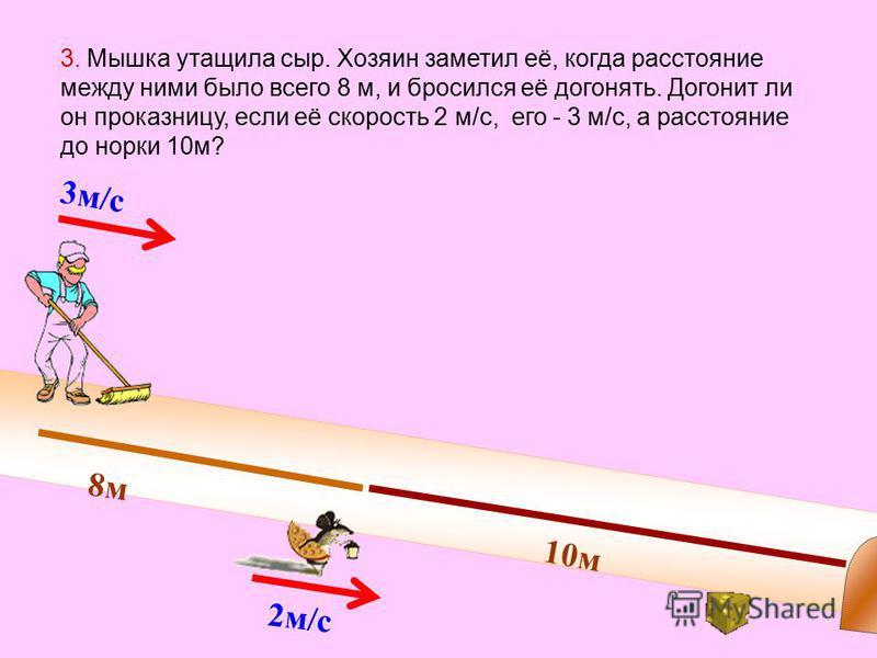 3 м/с 2 м/с 8 м 10 м 3. Мышка утащила сыр. Хозяин заметил её, когда расстояние между ними было всего 8 м, и бросился её догонять. Догонит ли он проказницу, если её скорость 2 м/с, его - 3 м/с, а расстояние до норки 10 м?