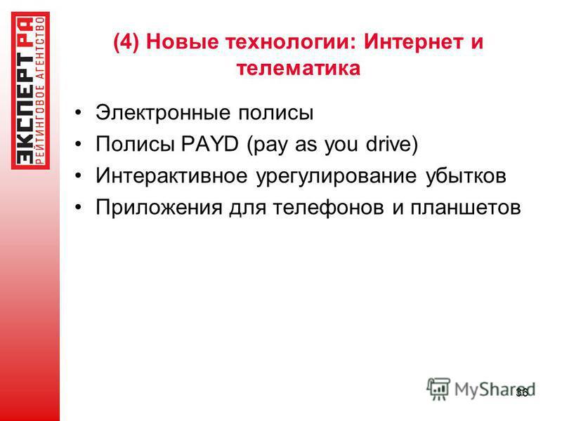(4) Новые технологии: Интернет и телематика Электронные полисы Полисы PAYD (pay as you drive) Интерактивное урегулирование убытков Приложения для телефонов и планшетов 36
