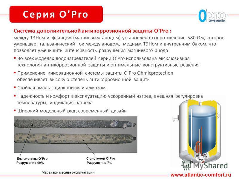 www.atlantic-comfort.ru Серия OPro Система дополнительной антикоррозионной защиты O`Pro : между ТЭНом и фланцем (магниевым анодом) установлено сопротивление 580 Ом, которое уменьшает гальванический ток между анодом, медным ТЭНом и внутренним баком, ч