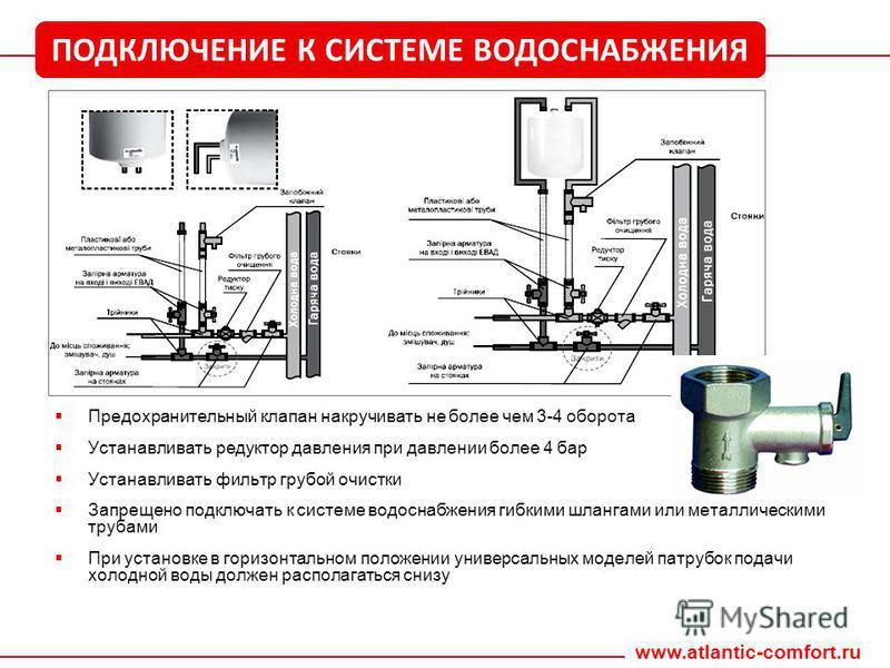 Предохранительный клапан накручивать не более чем 3-4 оборота Устанавливать редуктор давления при давлении более 4 бар Устанавливать фильтр грубой очистки Запрещено подключать к системе водоснабжения гибкими шлангами или металлическими трубами При ус