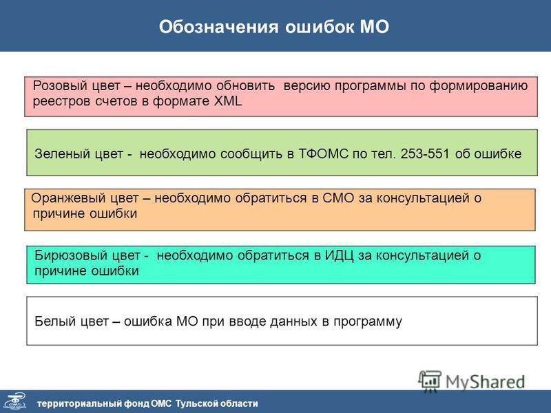 Обозначения ошибок МО территориальный фонд ОМС Тульской области Розовый цвет – необходимо обновить версию программы по формированию реестров счетов в формате XML Зеленый цвет - необходимо сообщить в ТФОМС по тел. 253-551 об ошибке Оранжевый цвет – не