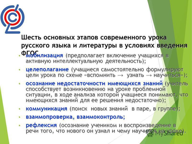 Шесть основных этапов современного урока русского языка и литературы в условиях введения ФГОС мобилизация (предполагает включение учащихся в активную интеллектуальную деятельность); мобилизация (предполагает включение учащихся в активную интеллектуал