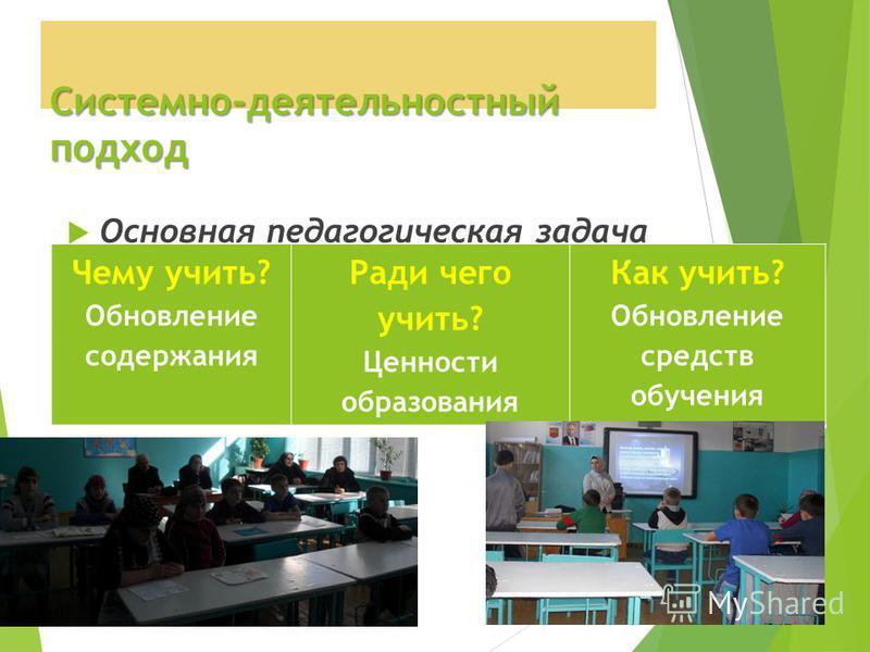 Системно-деятельностный подход Основная педагогическая задача - организация условий, инициирующих детское действие Чему учить? Обновление содержания Ради чего учить? Ценности образования Как учить? Обновление средств обучения