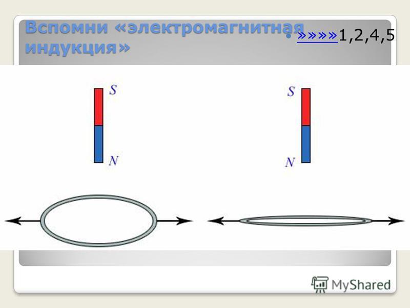 Вспомни «электромагнитная индукция» »»»»1,2,4,5 »»»» 3