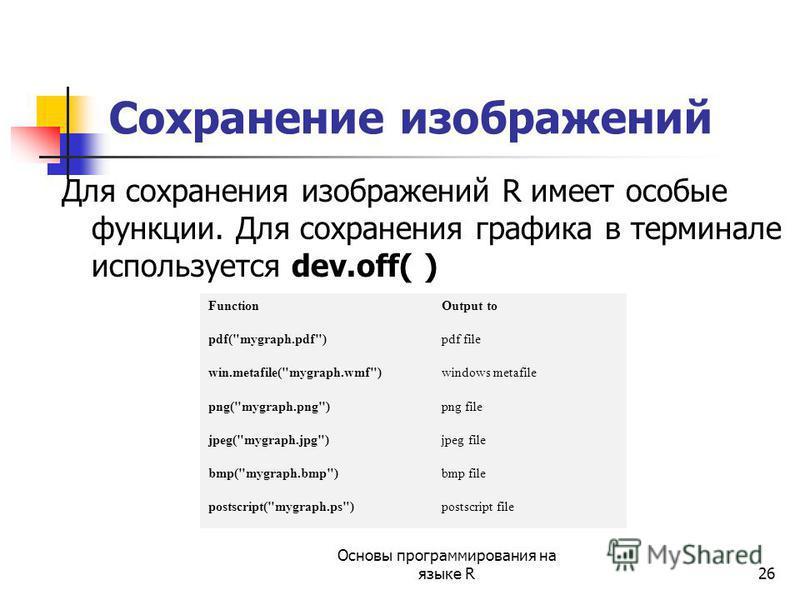 26 Сохранение изображений Для сохранения изображений R имеет особые функции. Для сохранения графика в терминале используется dev.off( ) FunctionOutput to pdf(