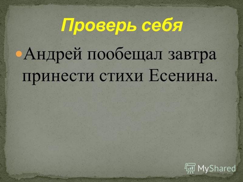 - Я завтра приду и принесу вам стихи Есенина, - сказал Андрей.