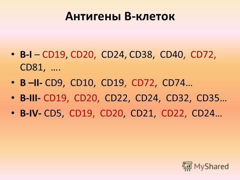 Антигены В-клеток В-I – CD19, CD20, CD24, CD38, CD40, CD72, CD81, …. В –II- CD9, CD10, CD19, CD72, CD74… В-III- CD19, CD20, CD22, CD24, CD32, CD35… В-IV- CD5, CD19, CD20, CD21, CD22, CD24…