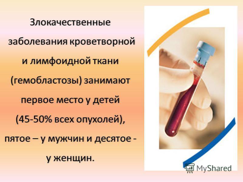 Злокачественные заболевания кроветворной и лимфоидной ткани (гемобластозы) занимают первое место у детей заболевания кроветворной и лимфоидной ткани (гемобластозы) занимают первое место у детей (45-50% всех опухолей), пятое – у мужчин и десятое - у ж