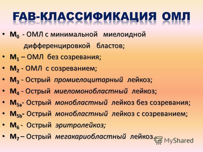 М 0 - ОМЛ с минимальной миелоидной М 0 - ОМЛ с минимальной миелоидной дифференцировкой бластов; дифференцировкой бластов; М 1 – ОМЛ без созревания; М 1 – ОМЛ без созревания; М 2 - ОМЛ с созреванием; М 2 - ОМЛ с созреванием; М 3 - Острый промиелоцитар