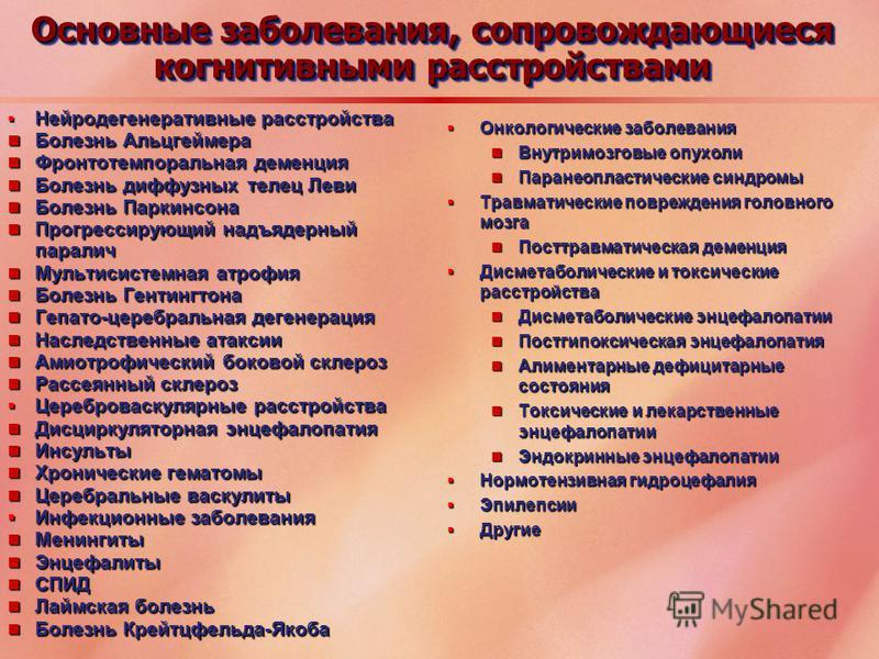 Нейродегенеративные расстройства Нейродегенеративные расстройства Болезнь Альцгеймера Болезнь Альцгеймера Фронтотемпоральная деменция Фронтотемпоральная деменция Болезнь диффузных телец Леви Болезнь диффузных телец Леви Болезнь Паркинсона Болезнь Пар