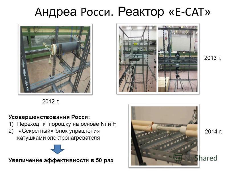 А ндреа Росси. Реактор « E-CAT » 2013 г. 2014 г. 2012 г. Усовершенствования Росси: 1)Переход к порошку на основе Ni и H 2) «Секретный» блок управления катушками электронагревателя Увеличение эффективности в 50 раз