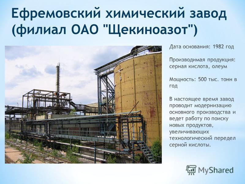 Ефремовский химический завод (филиал ОАО Щекиноазот)