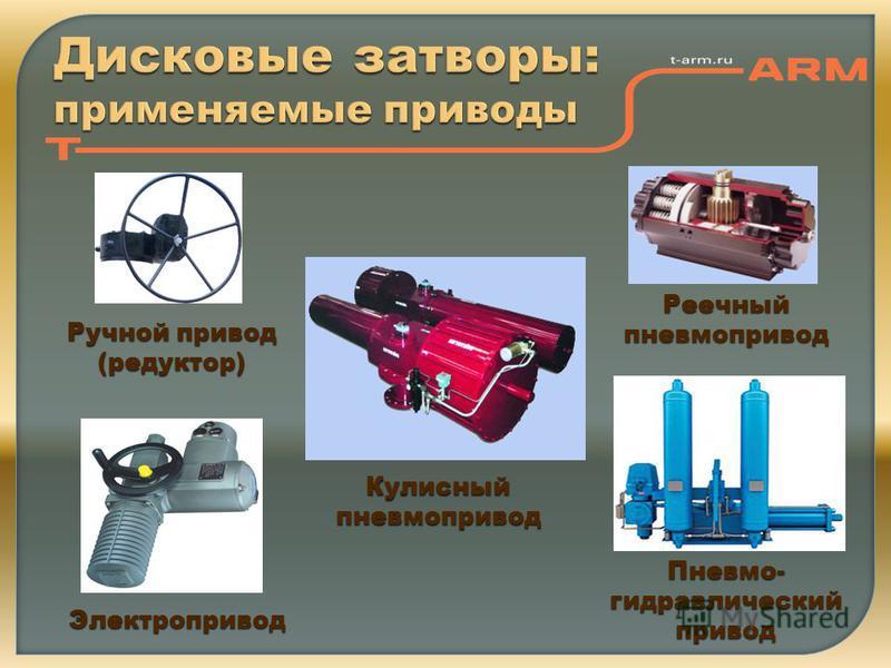 Ручной привод (редуктор) Электропривод Пневмо- гидравлический привод Реечный пневмопривод Кулисный пневмопривод