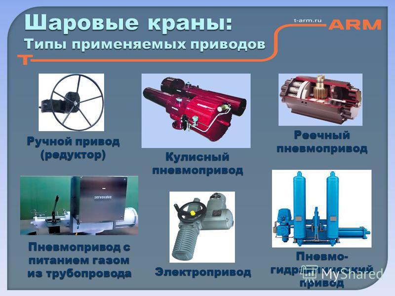 Шаровые краны: Типы применяемых приводов Ручной привод (редуктор) Пневмопривод с питанием газом из трубопровода Электропривод Пневмо- гидравлический привод Реечный пневмопривод Кулисный пневмопривод