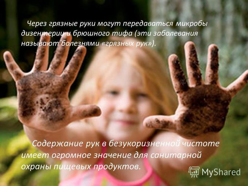 Через грязные руки могут передаваться микробы дизентерии и брюшного тифа (эти заболевания называют болезнями «грязных рук»). Содержание рук в безукоризненной чистоте имеет огромное значение для санитарной охраны пищевых продуктов.