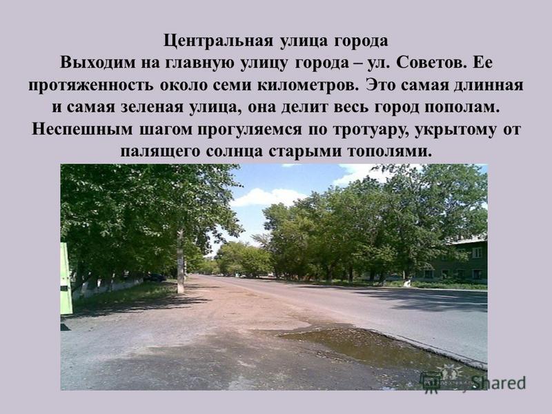 Центральная улица города Выходим на главную улицу города – ул. Советов. Ее протяженность около семи километров. Это самая длинная и самая зеленая улица, она делит весь город пополам. Неспешным шагом прогуляемся по тротуару, укрытому от палящего солнц