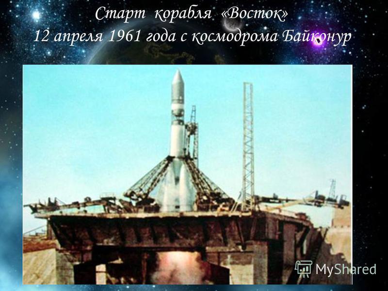 Старт корабля «Восток» 12 апреля 1961 года с космодрома Байконур