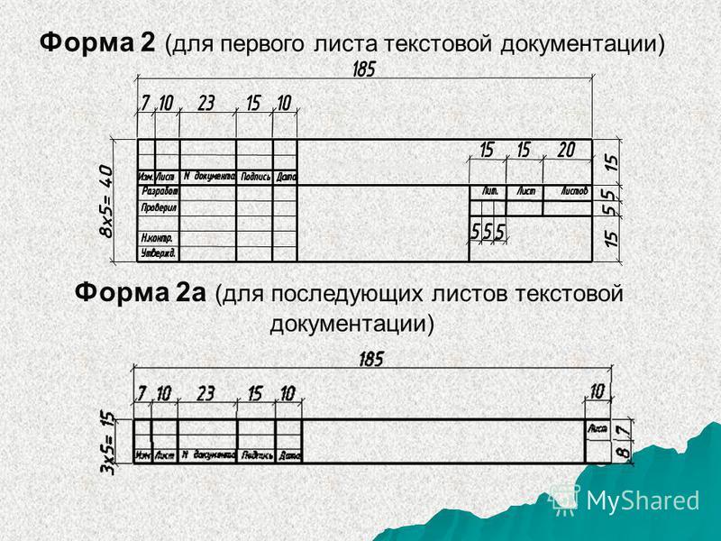 Форма 2 (для первого листа текстовой документации) Форма 2 (для первого листа текстовой документации) Форма 2 а (для последующих листов текстовой документации)