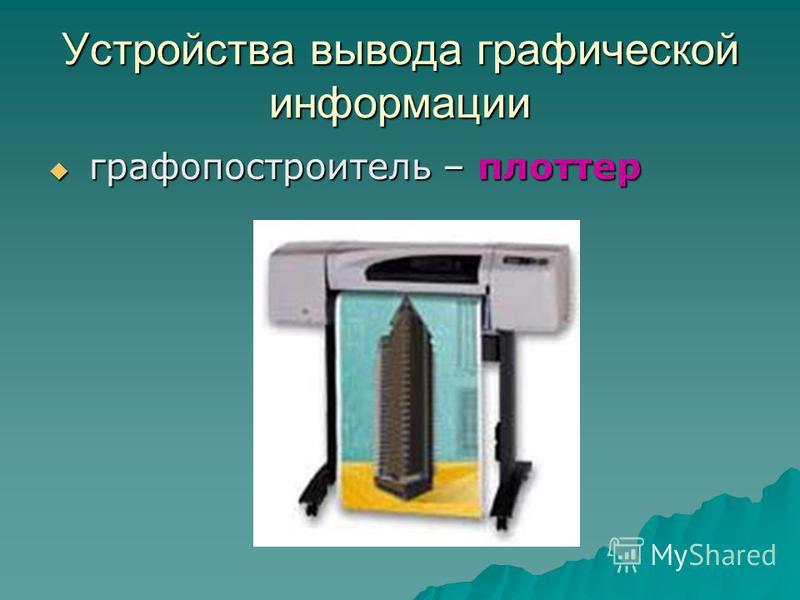 Устройства вывода графической информации графопостроитель – плоттер графопостроитель – плоттер