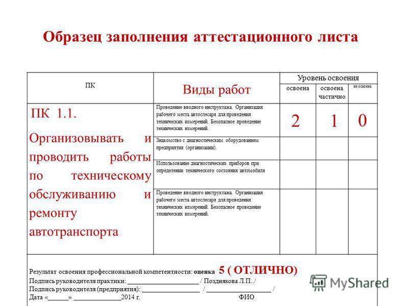 Аттестационный лист по практике образец заполнения спо