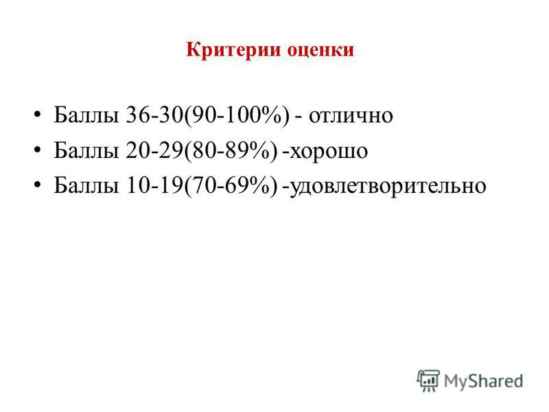 Критерии оценки Баллы 36-30(90-100%) - отлично Баллы 20-29(80-89%) -хорошо Баллы 10-19(70-69%) -удовлетворительно