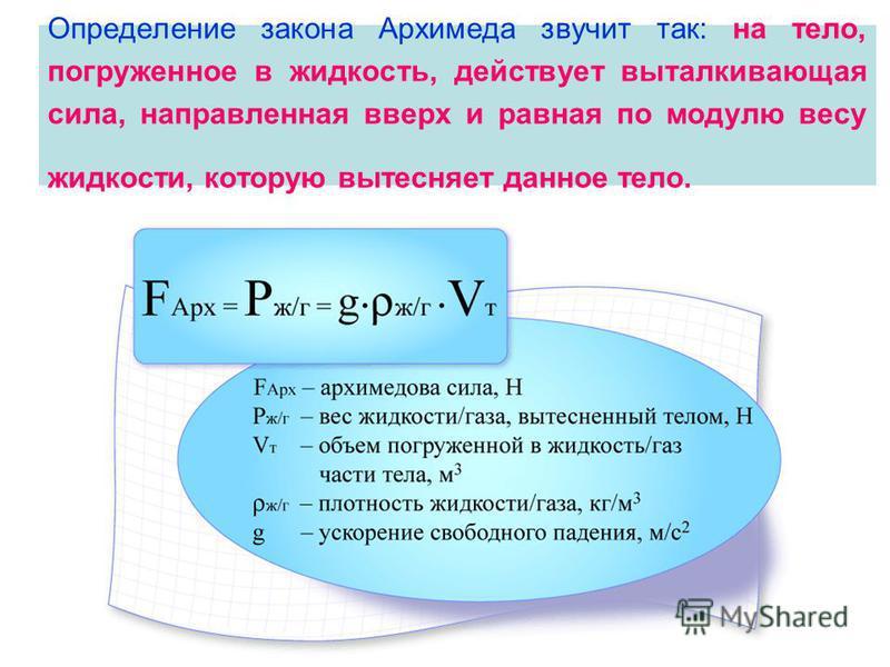 Определение закона Архимеда звучит так: на тело, погруженное в жидкость, действует выталкивающая сила, направленная вверх и равная по модулю весу жидкости, которую вытесняет данное тело.