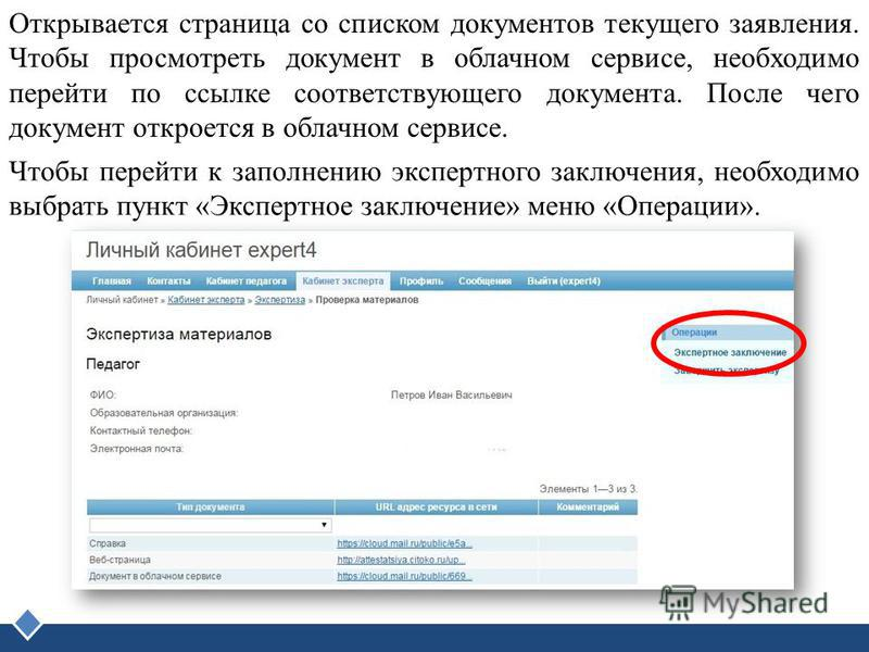 LOGO Открывается страница со списком документов текущего заявления. Чтобы просмотреть документ в облачном сервисе, необходимо перейти по ссылке соответствующего документа. После чего документ откроется в облачном сервисе. Чтобы перейти к заполнению э
