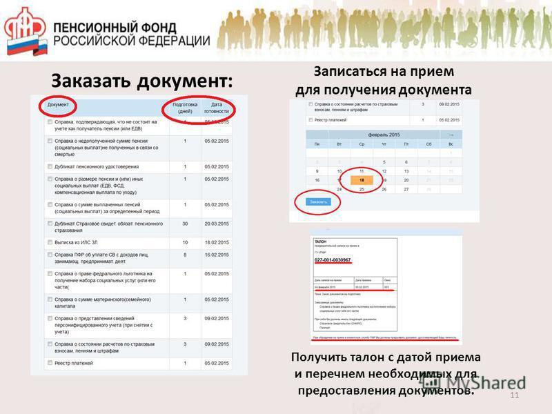 11 Заказать документ: Записаться на прием для получения документа Получить талон с датой приема и перечнем необходимых для предоставления документов.