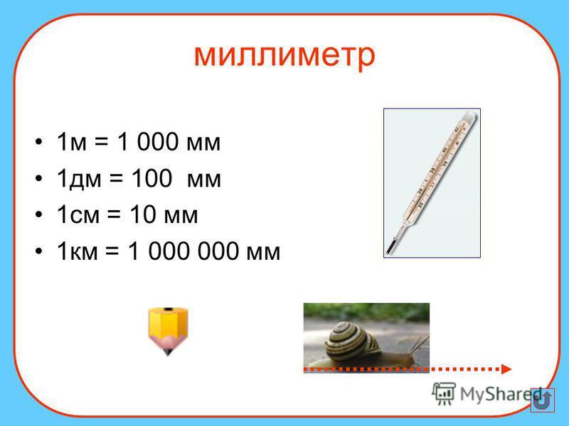 1 м = 1 000 мм 1 дм = 100 мм 1 см = 10 мм 1 км = 1 000 000 мм миллиметр
