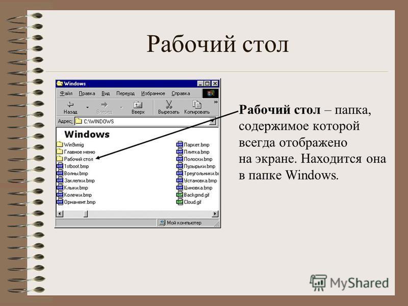 Рабочий стол Рабочий стол – папка, содержимое которой всегда отображено на экране. Находится она в папке Windows.