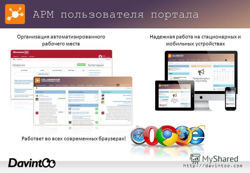 http://davintoo.com АРМ пользователя портала Надежная работа на стационарных и мобильных устройствах Организация автоматизированного рабочего места Работает во всех современных браузерах!