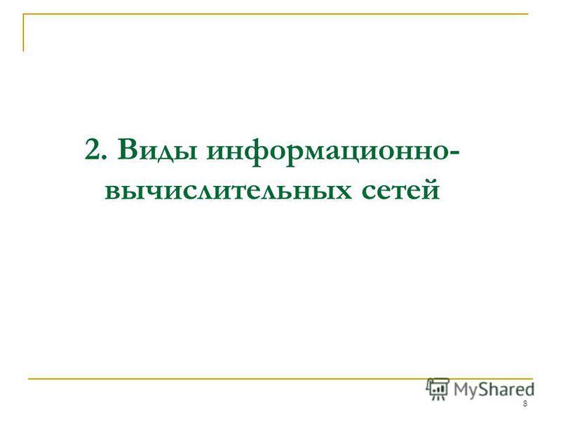 2. Виды информационно- вычислительных сетей 8
