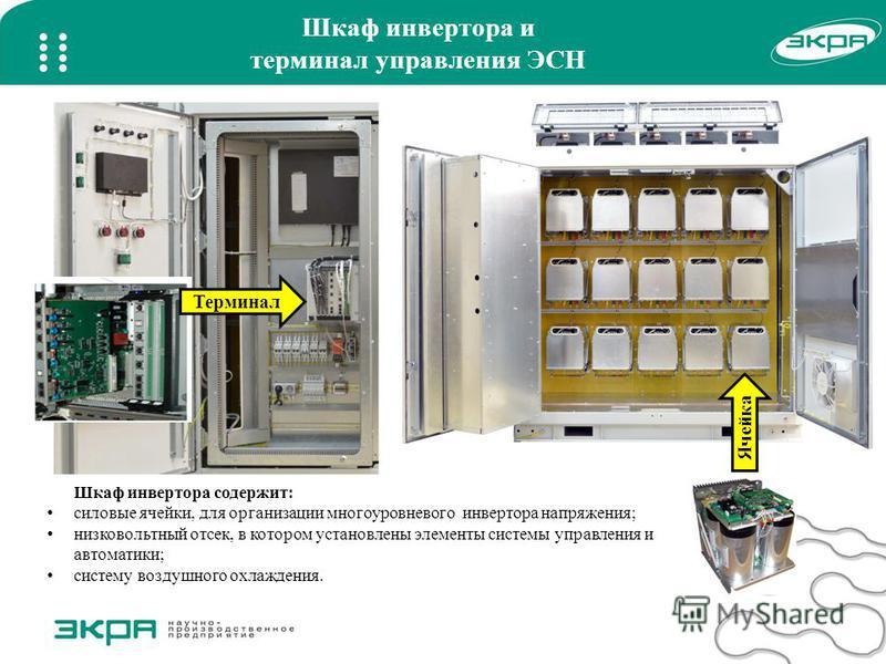 Шкаф инвертора и терминал управления ЭСН Терминал Ячейка Шкаф инвертора содержит: силовые ячейки, для организации многоуровневого инвертора напряжения; низковольтный отсек, в котором установлены элементы системы управления и автоматики; систему возду