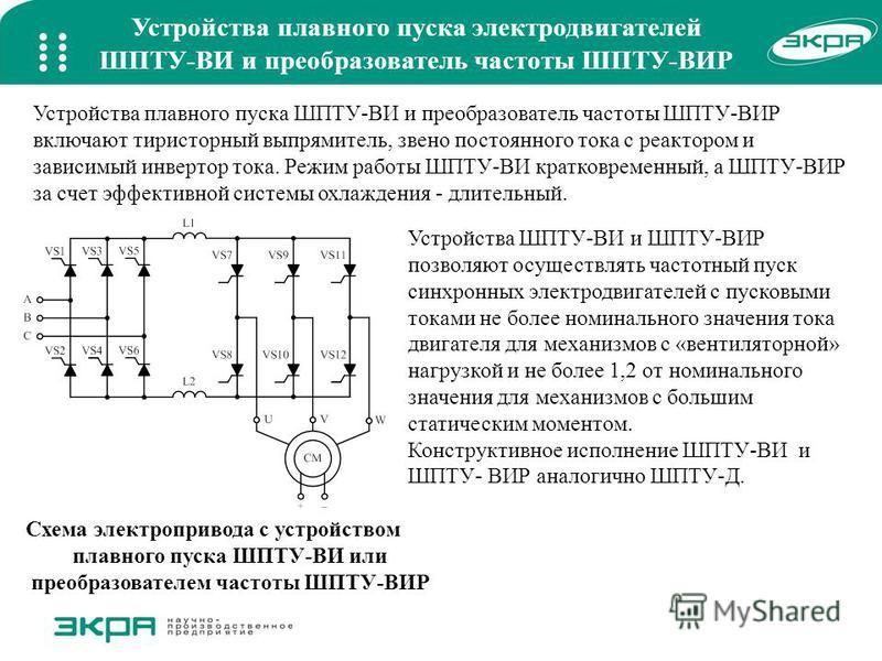 Устройства плавного пуска электродвигателей ШПТУ-ВИ и преобразователь частоты ШПТУ-ВИР Схема электропривода c устройством плавного пуска ШПТУ-ВИ или преобразователем частоты ШПТУ-ВИР Устройства плавного пуска ШПТУ-ВИ и преобразователь частоты ШПТУ-ВИ