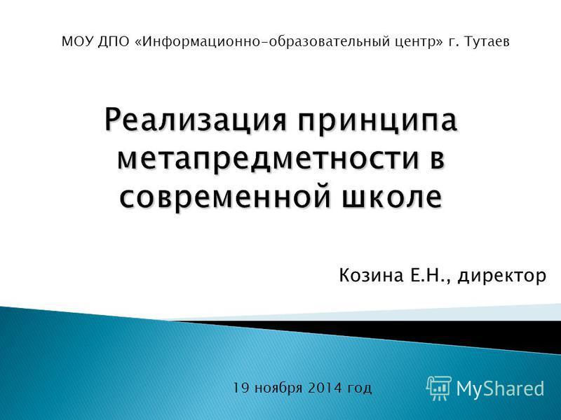 Козина Е.Н., директор 19 ноября 2014 год МОУ ДПО «Информационно-образовательный центр» г. Тутаев