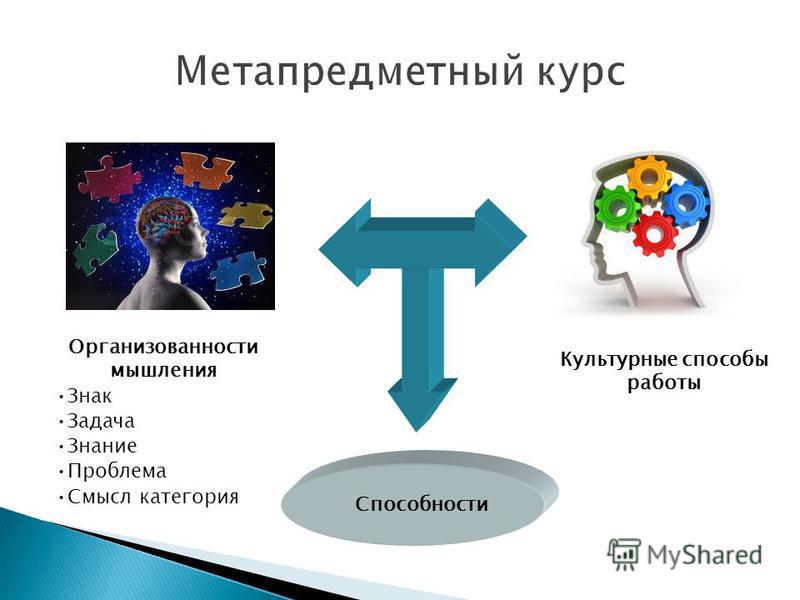 Организованности мышления Знак Задача Знание Проблема Смысл категория Культурные способы работы Способности