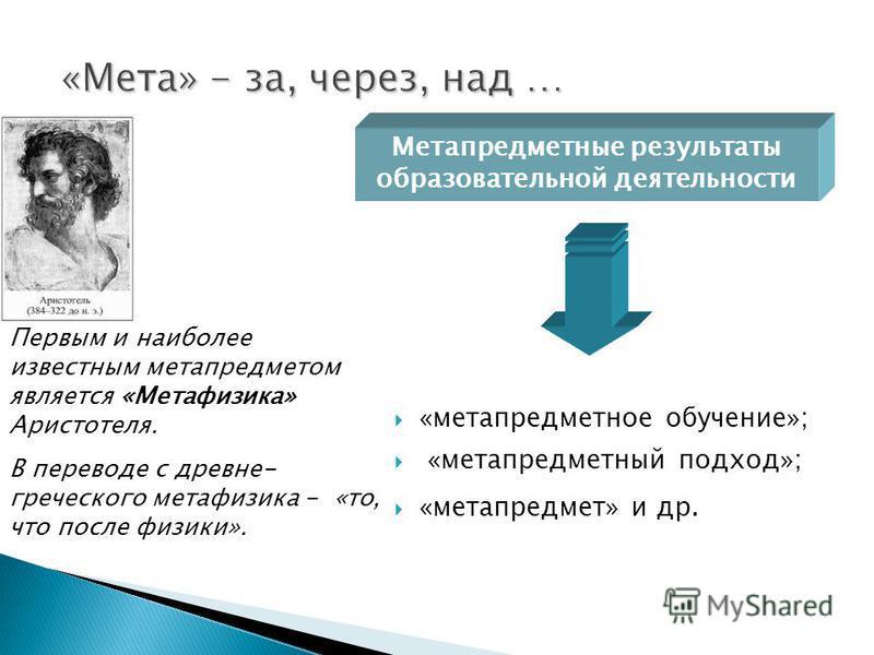 «метапредметное обучение»; «метапредметный подход»; «метапредмет» и др. Метапредметные результаты образовательной деятельности Первым и наиболее известным мета предметом является «Метафизика» Аристотеля. В переводе с древне- греческого метафизика - «