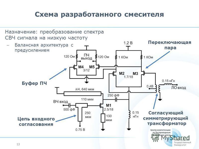 13 Схема разработанного смесителя Переключающая пара Буфер ПЧ Согласующий симметрирующий трансформатор Цепь входного согласования Назначение: преобразование спектра СВЧ сигнала на низкую частоту ̶ Балансная архитектура с предусилением