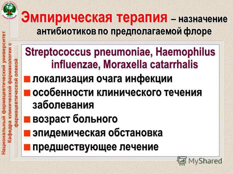 Национальный фармацевтический университет Кафедра клинической фармакологии с фармацевтической опекой Эмпирическая терапия – назначение антибиотиков по предполагаемой флоре Streptococcus pneumoniae, Haemophilus influenzae, Moraxella catarrhalis n лока