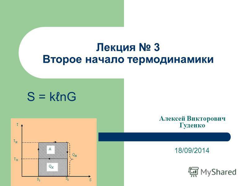 Лекция 3 Второе начало термодинамики 18/09/2014 Алексей Викторович Гуденко S = knG