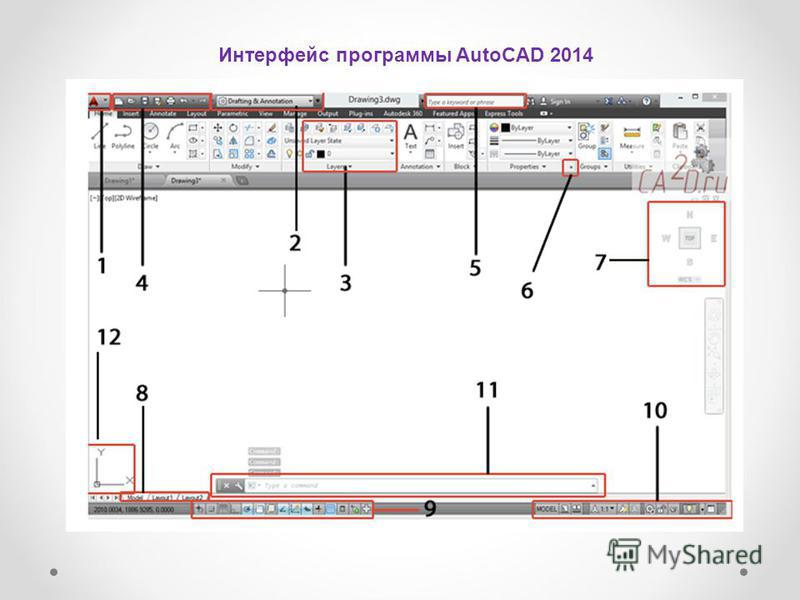 Интерфейс программы AutoCAD 2014