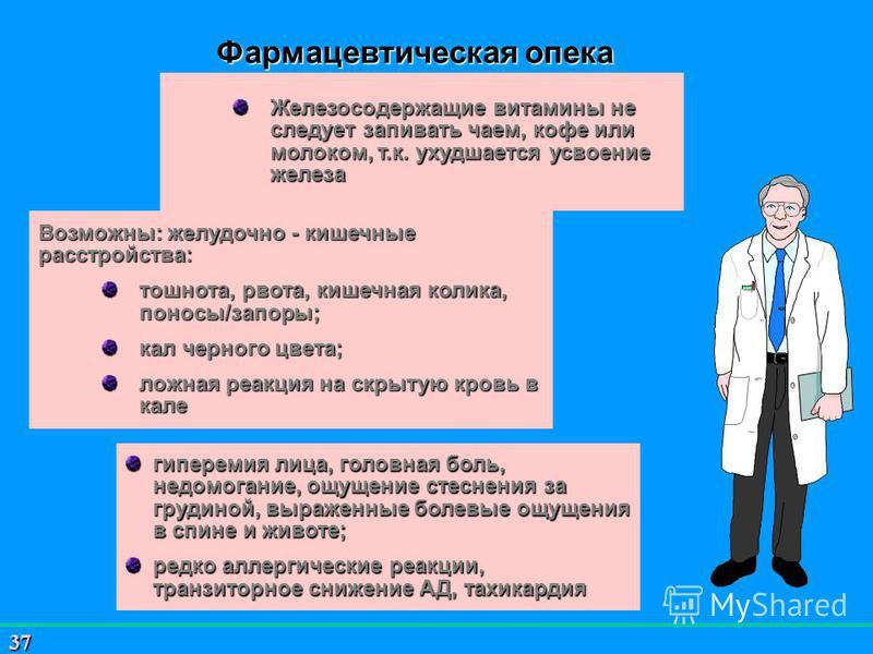 37 Возможны: желудочно - кишечные расстройства: тошнота, рвота, кишечная колика, поносы/запоры; кал черного цвета; ложная реакция на скрытую кровь в кале гиперемия лица, головная боль, недомогание, ощущение стеснения за грудиной, выраженные болевые о