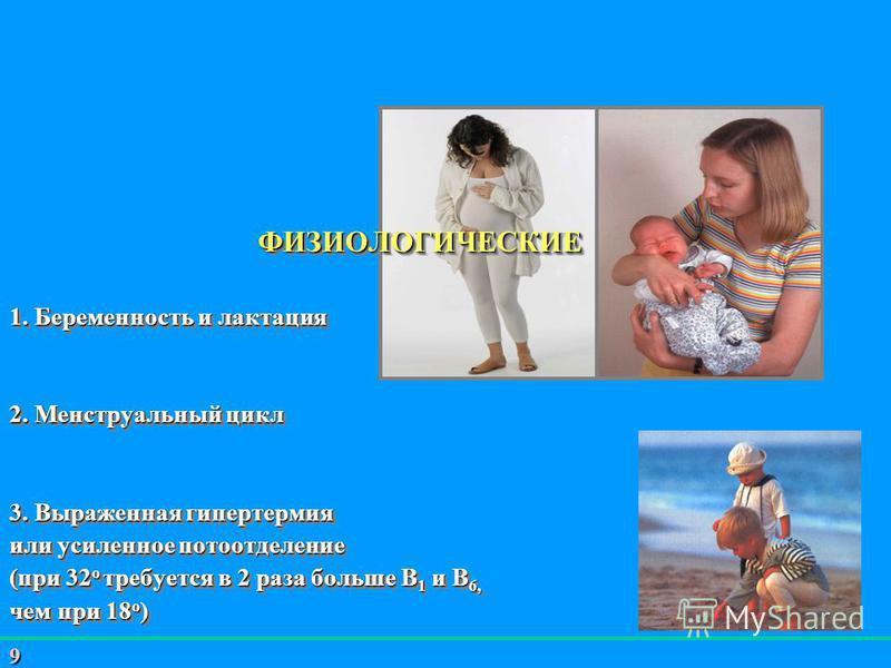 9 ФИЗИОЛОГИЧЕСКИЕ 1. Беременность и лактация 2. Менструальный цикл 3. Выраженная гипертермия или усиленное потоотделение (при 32 о требуется в 2 раза больше В 1 и В 6, чем при 18 о ) 4. Акклиматизация 5. Период роста 6. Период старения ФИЗИОЛОГИЧЕСКИ