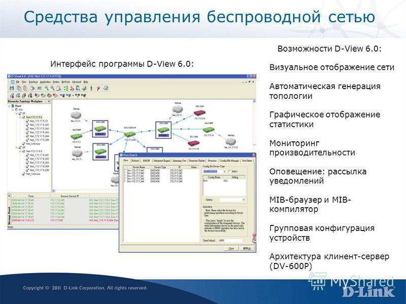 Средства управления беспроводной сетью Возможности D-View 6.0: Визуальное отображение сети Автоматическая генерация топологии Графическое отображение статистики Мониторинг производительности Оповещение: рассылка уведомлений MIB-браузер и MIB- компиля
