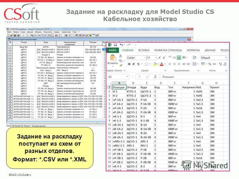 Задание на раскладку для Model Studio CS Кабельное хозяйство ©ЗАО «Си Софт» Задание на раскладку поступает из схем от разных отделов. Формат: *.CSV или *.XML